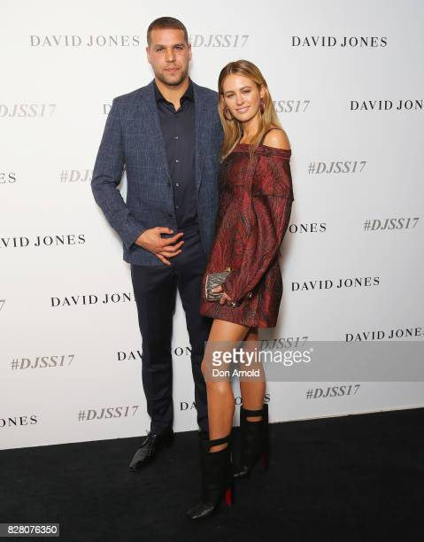 Lance Franklin and Jesinta Franklin arrive ahead of the David Jones Spring Summer 2017 Collections Launch at David Jones Elizabeth Street Store on...