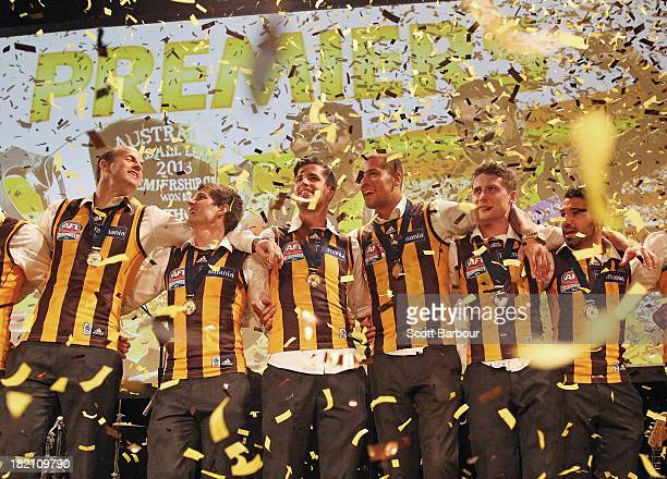 Lance Franklin and the Hawks sing the team song as confetti falls during the Hawthorn Hawks AFL Grand Final post match function at Crown Palladium on...