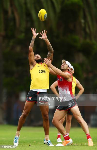 Lance Franklin jumps for the ball during a Sydney Swans AFL training session at Lakeside Oval on February 18, 2014 in Sydney, Australia.
