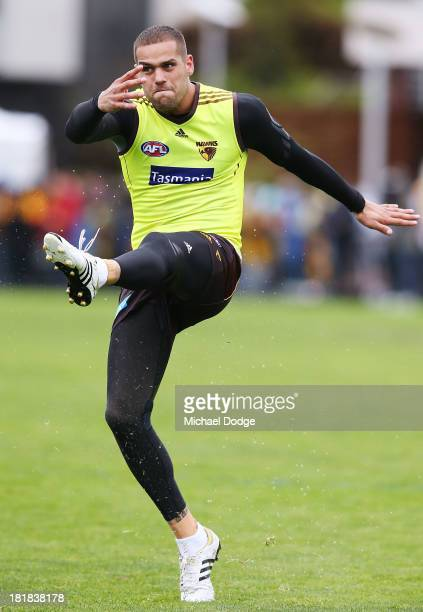 Lance Franklin kicks the ball during a Hawthorn Hawks AFL training session at Waverley Park on September 26 2013 in Melbourne Australia