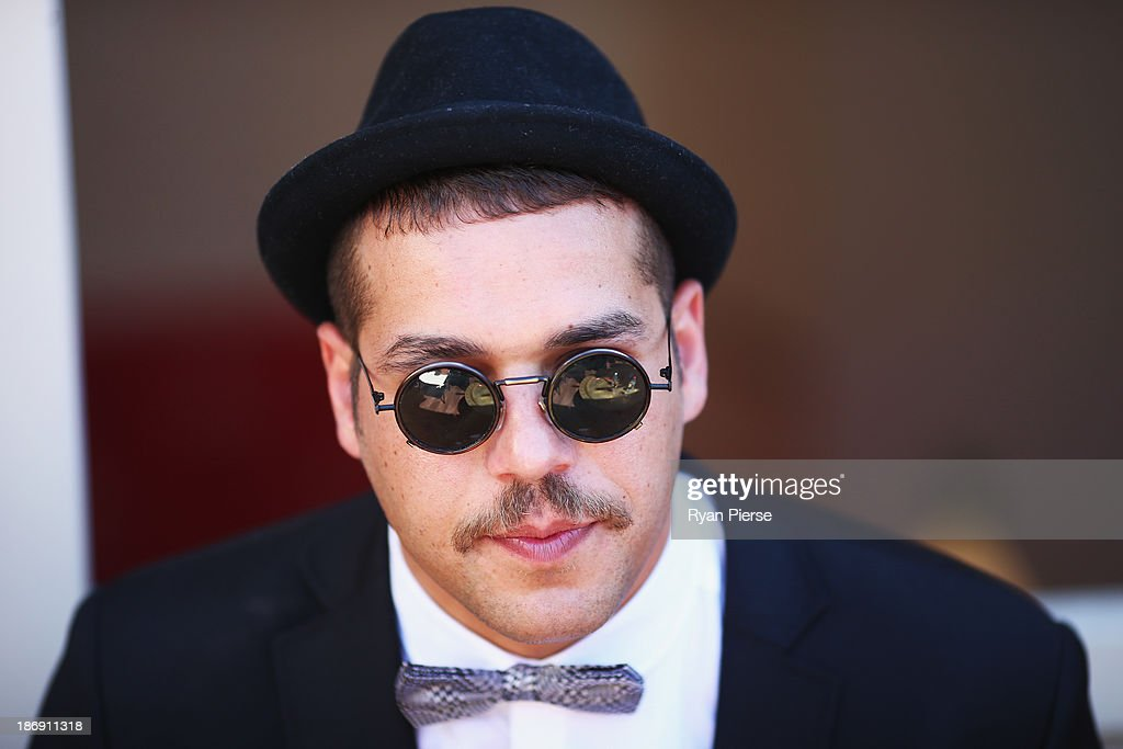 Lance Franklin looks on in the Emirates Marquee during Melbourne Cup Day at Flemington Racecourse on November 5, 2013 in Melbourne, Australia.