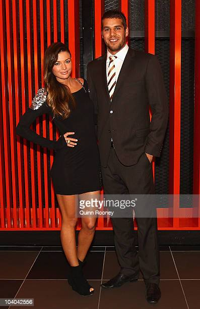 Lance Franklin of the Hawks and his partner Kasia Z arrive at the 2010 AFL AllAustralian Awards Dinner at The Melbourne Convention and Exhibition...