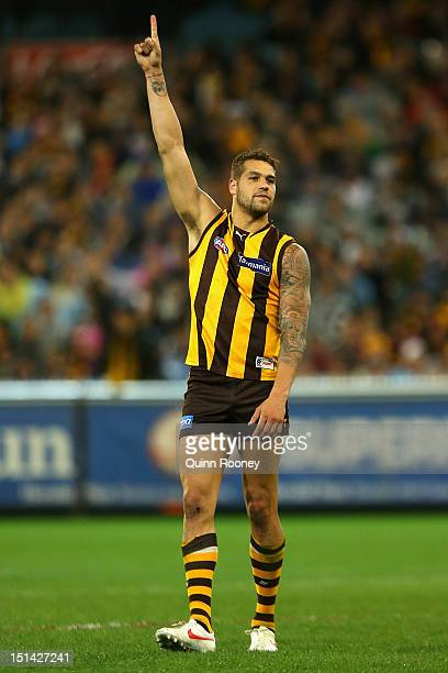 Lance Franklin of the Hawks celebrates kicking a goal during the First AFL Qualifying Final match between the Hawthorn Hawks and the Collingwood...