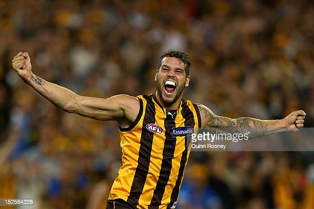 Lance Franklin of the Hawks celebrates kicking a goal during the second AFL Preliminary Final match between the Hawthorn Hawks and the Adelaide Crows...