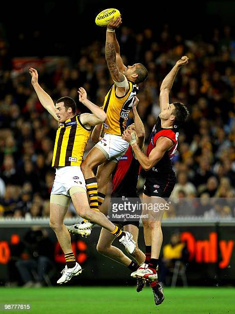 Lance Franklin of the Hawks flies for a mark during the round 6 AFL match between the Essendon Bombers and the Hawthorn Hawks at Melbourne Cricket...