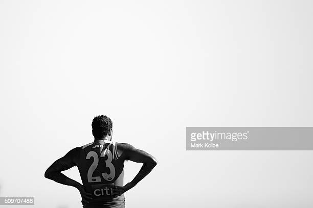 Lance Franklin of the Red Team watches on during the Sydney Swans AFL intraclub match at Henson Park on February 12 2016 in Sydney Australia