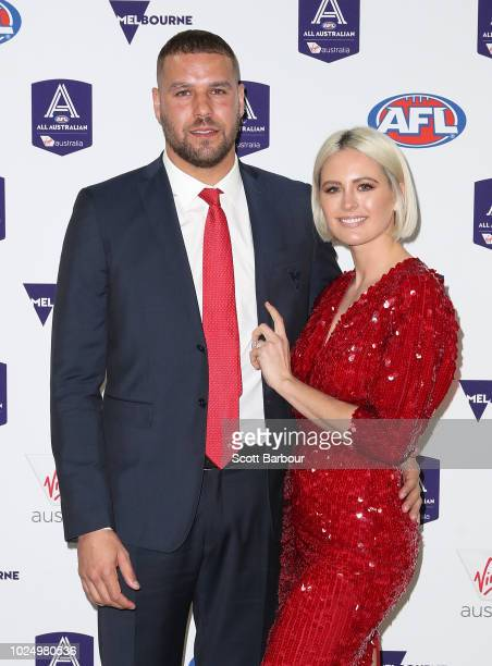 Lance Franklin of the Swans and Jesinta Franklin arrive during the 2018 AFL AllAustralia Awards at the Palais Theatre on August 29 2018 in Melbourne...