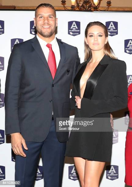Lance Franklin of the Swans and Jesinta Franklin arrive during the AFL All Australian team announcement at the Palais Theatre on August 30 2017 in...