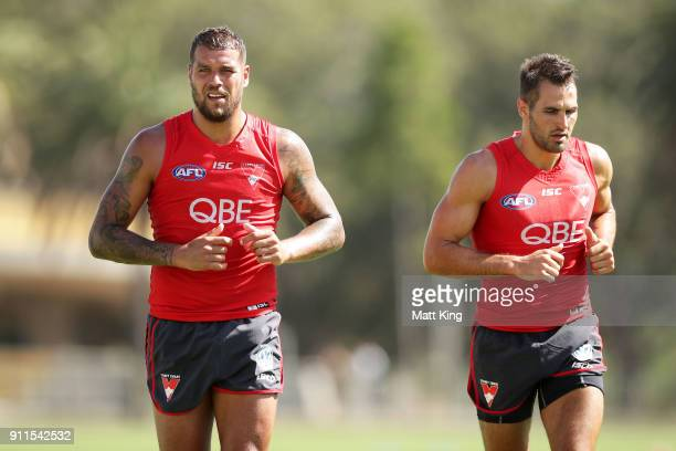 Lance Franklin of the Swans and Josh Kennedy of the Swans run during the Sydney Swans AFL preseason training session at Lakeside Oval on January 29...