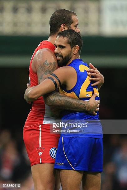 Lance Franklin of the Swans and Lewis Jetta of the Eagles embrace following the round five AFL match between the Sydney Swans and the West COast...