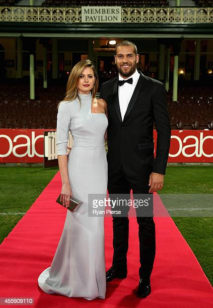 Lance Franklin of the Swans and partner Jesinta Campbell arrive ahead of the Sydney Swans official Brownlow Medal function at Sydney Cricket Ground...