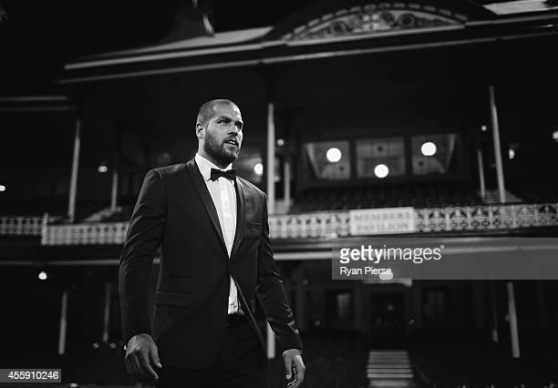 Lance Franklin of the Swans arrives ahead of the Sydney Swans official Brownlow Medal function at Sydney Cricket Ground on September 22 2014 in...