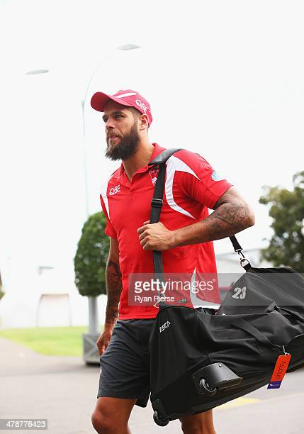 Lance Franklin of the Swans arrives before his first game for the Swans the round one AFL match between the Greater Western Sydney Giants and the...