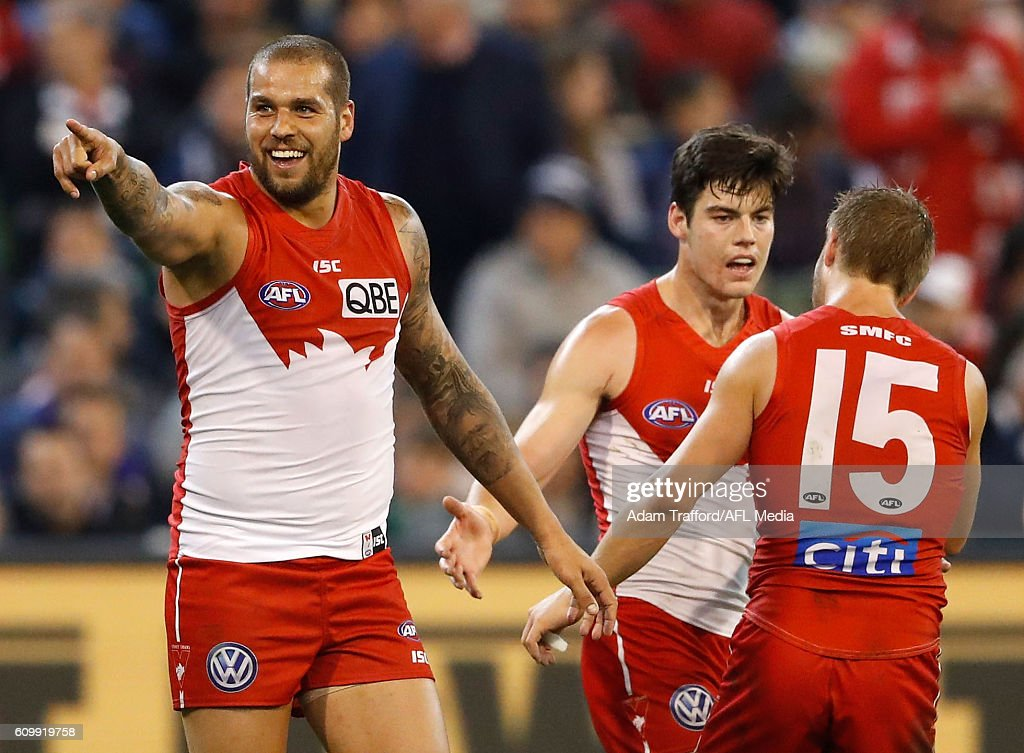 Lance Franklin of the Swans celebrates a goal during the 2016 AFL Second Preliminary Final match between the Geelong Cats and the Sydney Swans at the Melbourne Cricket Ground on September 23, 2016 in Melbourne, Australia.