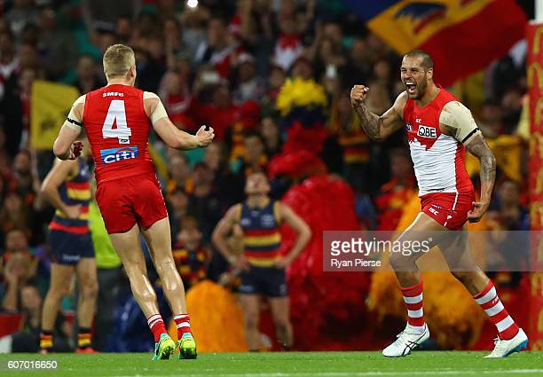 Lance Franklin of the Swans celebrates a goal during the First AFL Semi Final match between the Sydney Swans and the Adelaide Crows at the Sydney...