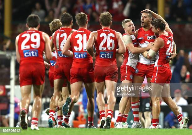 Lance Franklin of the Swans celebrates a goal during the round 12 AFL match between the Sydney Swans and the Western Bulldogs at Sydney Cricket...