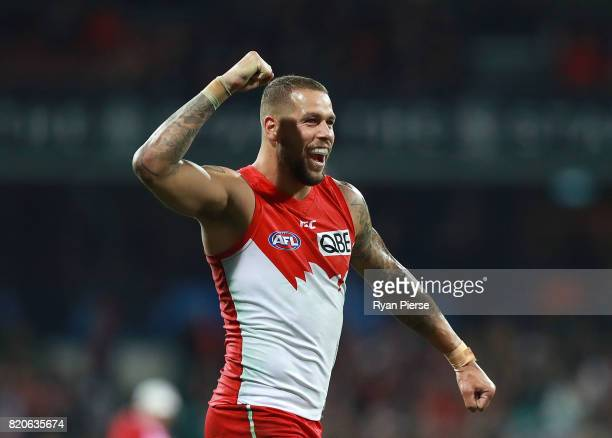 Lance Franklin of the Swans celebrates a goal during the round 18 AFL match between the Sydney Swans and the St Kilda Saints at Sydney Cricket Ground...