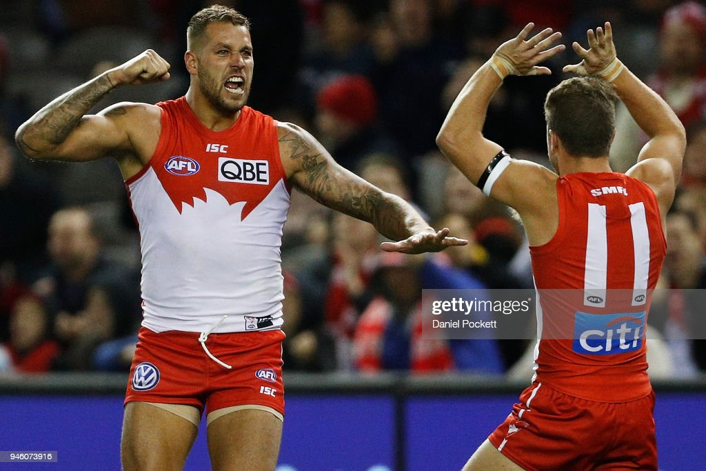 Lance Franklin of the Swans (left) celebrates a goal during the round four AFL match between the Western Bulldogs and the Sydney Swans at Etihad Stadium on April 14, 2018 in Melbourne, Australia.