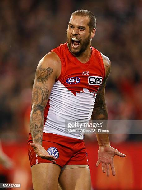 Lance Franklin of the Swans celebrates during the 2016 AFL Second Preliminary Final match between the Geelong Cats and the Sydney Swans at the...