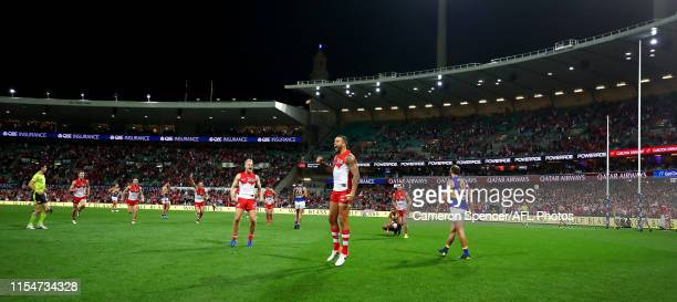 Lance Franklin of the Swans celebrates kicking a goal and winning the round 12 AFL match between the Sydney Swans and the West Coast Eagles at Sydney...