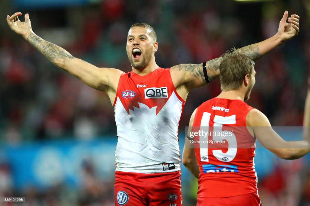 Lance Franklin of the Swans celebrates scoring his tenth goal during the round 23 AFL match between the Sydney Swans and the Carlton Blues at Sydney Cricket Ground on August 26, 2017 in Sydney, Australia.