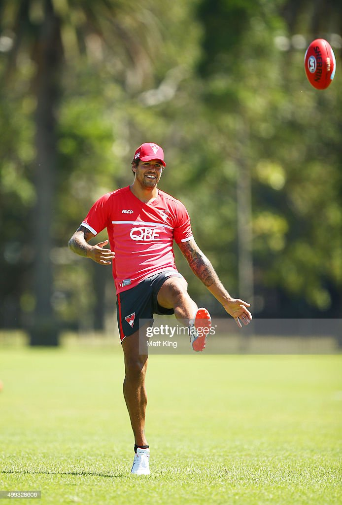 Lance Franklin of the Swans kicks during a Sydney Swans AFL pre-season training session at Lakeside Oval on December 1, 2015 in Sydney, Australia.