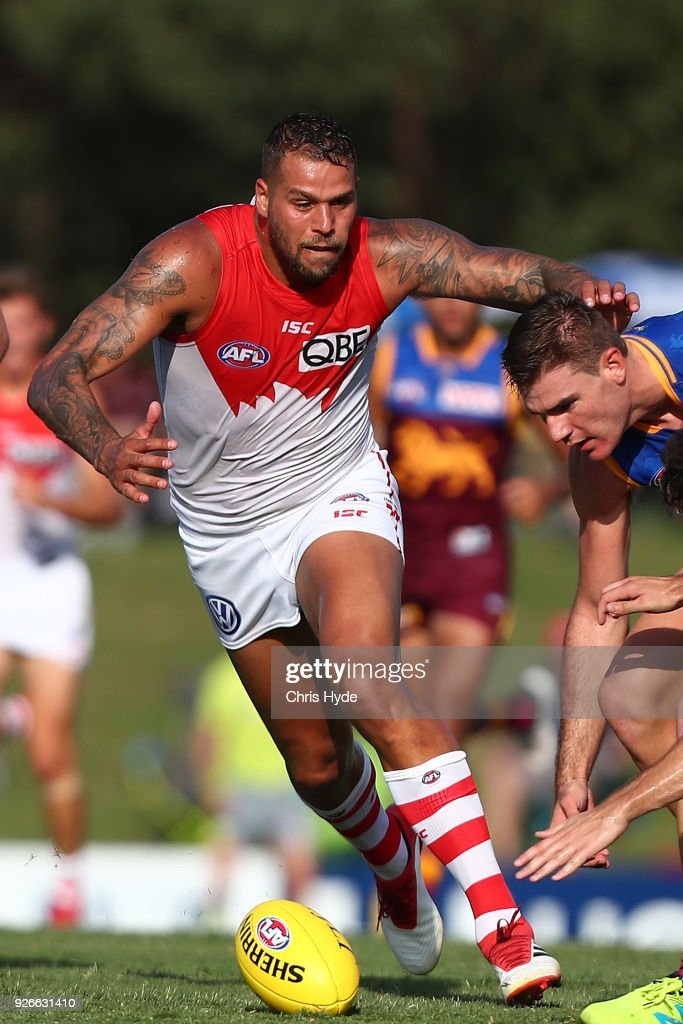 Lance Franklin of the Swans kicks during the AFL JLT Community Series match between the Brisbane Lions and the Sydney Swans at Moreton Bay Central Sports Complex on March 3, 2018 in Brisbane, Australia.