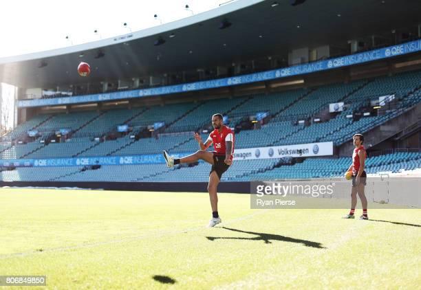 Lance Franklin of the Swans kicks for goal during a Sydney Swans AFL training session at Sydney Cricket Ground on July 4 2017 in Sydney Australia