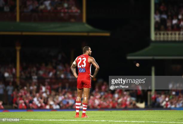 Lance Franklin of the Swans looks on during the round five AFL match between the Sydney Swans and the Greater Western Sydney Giants at Sydney Cricket...
