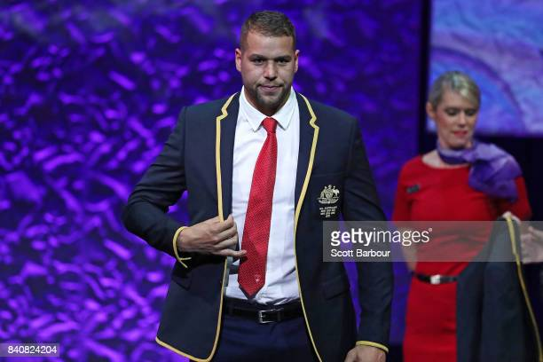 Lance Franklin of the Swans receives his All Australian blazer during the AFL All Australian team announcement at the Palais Theatre on August 30...