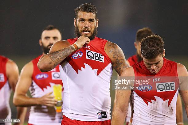 Lance Franklin of the Swans walks from the field following the round three NAB Challenge match between the Sydney Swans and the West Coast Eagles at...