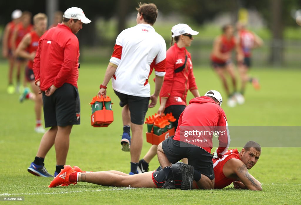 Lance Franklin of thre Swans trains during a Sydney Swans AFL training session at Lakeside Oval on March 8, 2017 in Sydney, Australia.