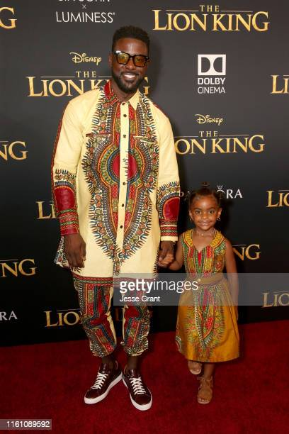 Lance Gross and Berkeley Brynn Gross attend the World Premiere of Disney's THE LION KING at the Dolby Theatre on July 09 2019 in Hollywood California