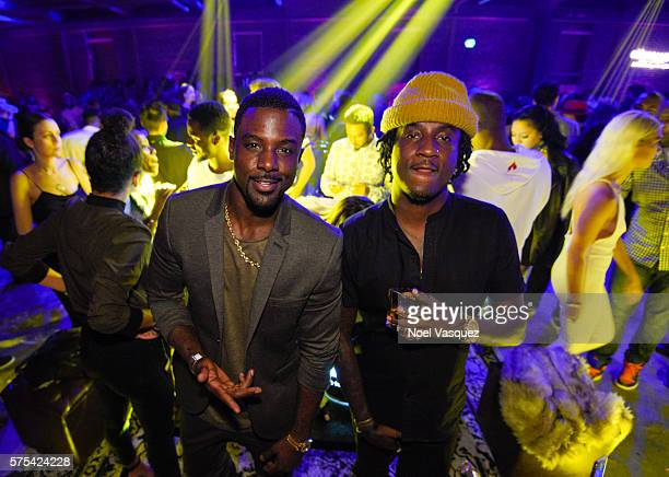 Lance Gross and K CAMP attend Hennessy VS Limited Edition by Scott Campbell Bottle Launch event at MAMA Gallery on July 14 2016 in Los Angeles...