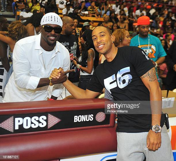 Lance Gross and Ludacris attend Celebrity Basketball Game Team Luda Vs Team Hart at Forbes Arena on September 2 2012 in Atlanta Georgia