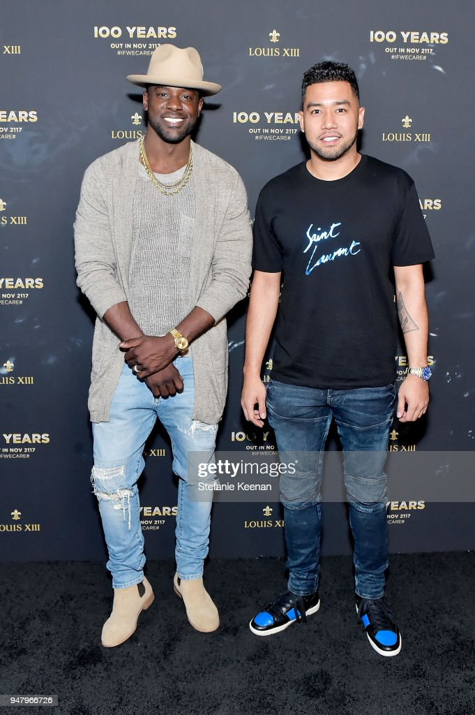 Lance Gross (L) and Vincent Martinez attend LOUIS XIII Cognac Presents '100 Years' - The Song We'll Only Hear #IfWeCare - by Pharrell Williams at Goya Studios on April 17, 2018 in Los Angeles, California.
