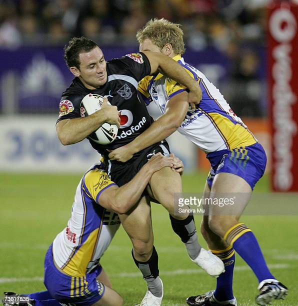 Lance Hohaia of the Warriors gets caught in a tackle during the round one NRL match between the Warriors and the Parramatta Eels at Mount Smart...