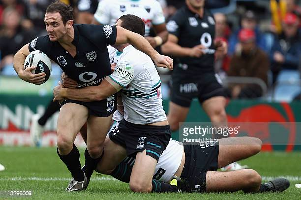 Lance Hohaia of the Warriors is brought down during the round eight NRL match between the Warriors and the Penrith Panthers at Mt Smart Stadium on...