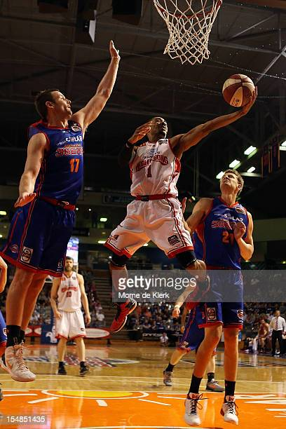 Lance Hurdle of the Hawks shoots with the ball during the round four NBL match between the Adelaide 36ers and the Wollongong Hawks at Adelaide Arena...
