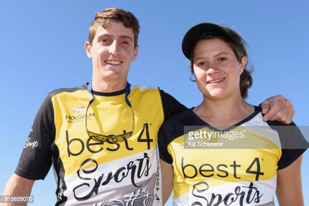 Lance Kime and his sister Robyn Owen of South Africa look on during a media opportunity prior to the Kathmandu Coast to Coast on February 8 2018 in...