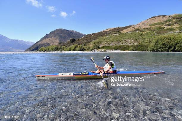 Lance Kime of South Africa competes in the kayak stage of the 1 day individual competition during the Kathmandu Coast to Coast on February 10 2018 in...
