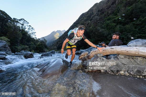 Lance Kime of South Africa competes in the mountain running stage of the 1 day individual competition during the Kathmandu Coast to Coast on February...