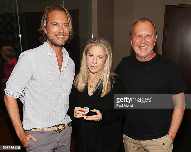 Lance LaPere Barbra Streisand and Michael Kors pose backstage during the Barbra The Music The Mem'ries The Magic Tour at Verizon Center on August 18...