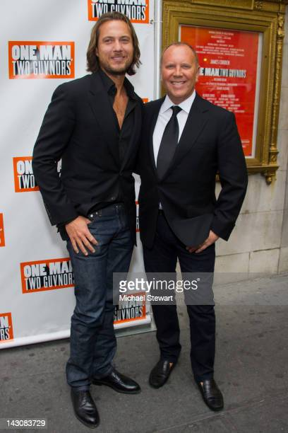 Lance LePere and designer Michael Kors attend the opening night of One Man Two Guvnors at the Music Box Theatre on April 18 2012 in New York City
