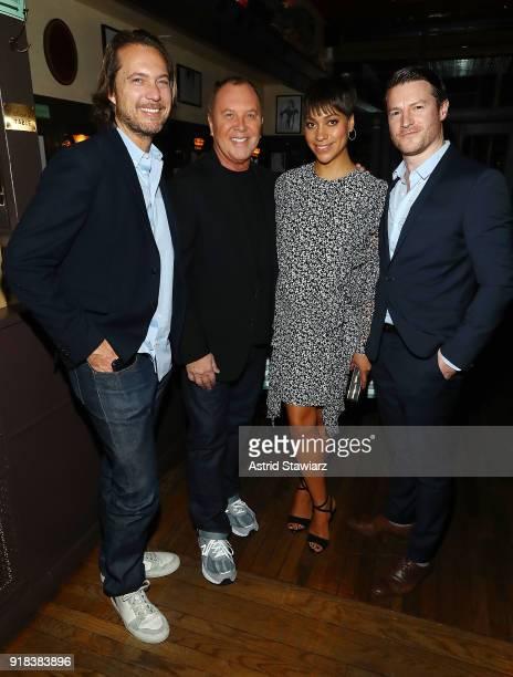 Lance LePere designer Michael Kors writer Cush Jumbo and Sean Griffin attend Michael Kors celebration for David Downton Collaboration at JG Melon on...