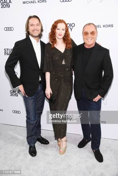 Lance LePere Karen Elson and Michael Kors attend the Whitney Museum Of American Art Gala Studio Party at The Whitney Museum of American Art on April...