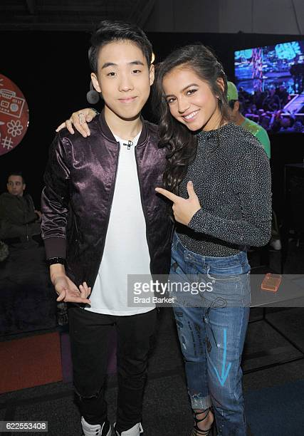 Lance Lim and actress Isabela Moner attends the 2016 Nickelodeon HALO awards at Basketball City Pier 36 South Street on November 11 2016 in New York...