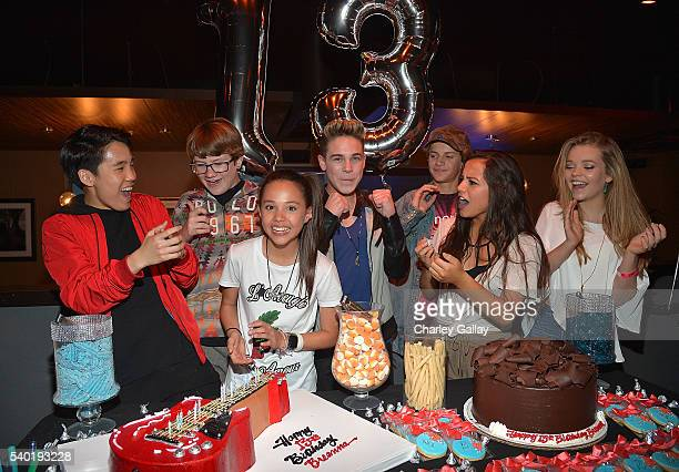 Lance Lim Breanna Yde Aidan Miner Ricardo Hurtado Jace Norman Isabela Moner and Jade Pettyjohn attend Breanna Yde's 13th Birthday Party at Lucky...