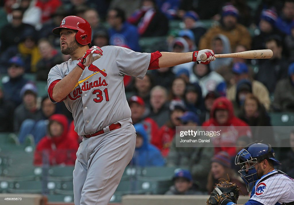 Lance Lynn #31 of the St. Louis Cardinals bats against the Chicago Cubs at Wrigley Field on April 8, 2015 in Chicago, Illinois. The Cubs defeated the Cardinals 2-0.