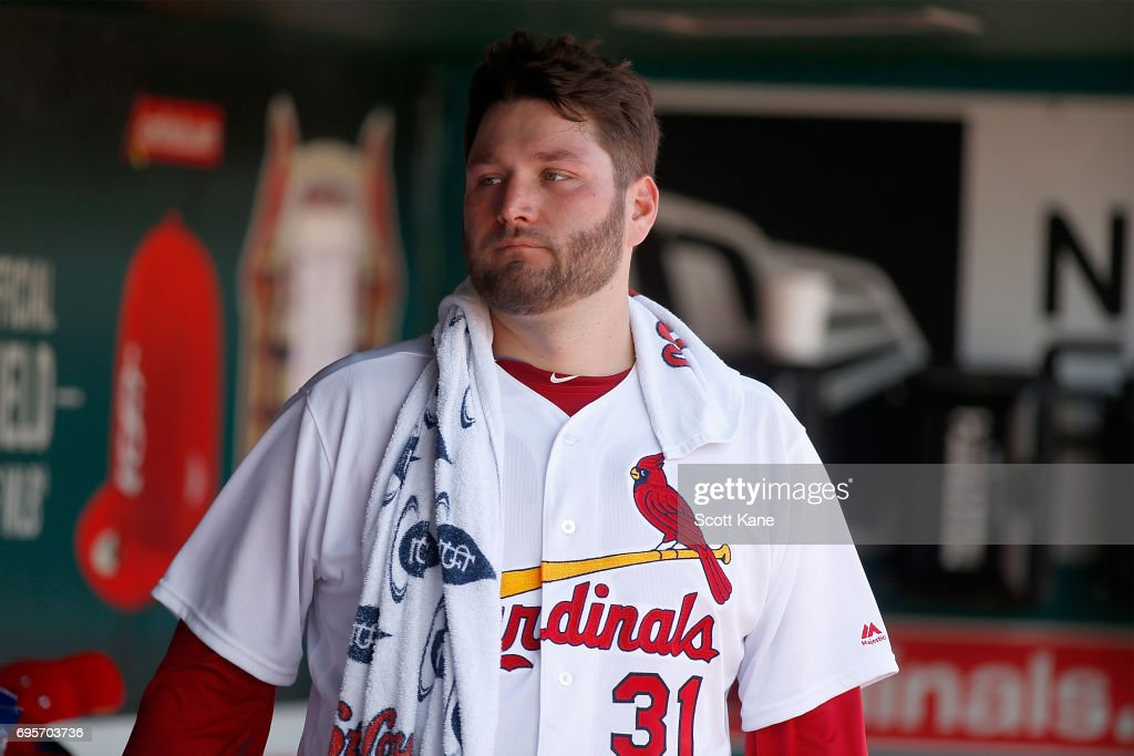 Lance Lynn #31 of the St. Louis Cardinals stands in the dugout during the sixth inning against the Milwaukee Brewers at Busch Stadium on June 13, 2017 in St. Louis, Missouri.
